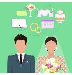 Wedding ceremony concept in flat design vector