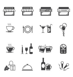 cafe coffee shop and restaurant icon set vector image vector image