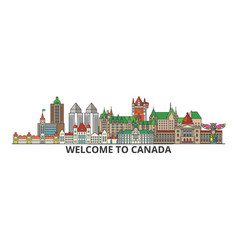 canada outline skyline canadian flat thin line vector image vector image