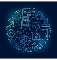 Poker circular blue vector image vector image