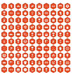 100 awards icons hexagon orange vector