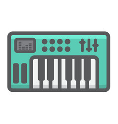 analog synthesizer filled outline icon music vector image