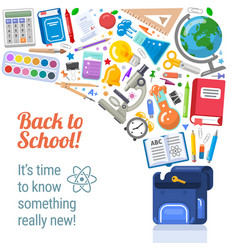 back to school placard with flying objects vector image