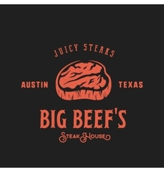 Big Beef Steak House Retro Label Emblem or vector image