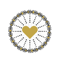 Black and golden circle heart wreath emblem icons vector
