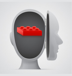 block inside open head logic concept vector image