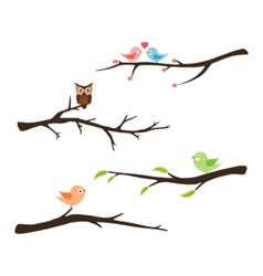 Branches with birds and owl vector image