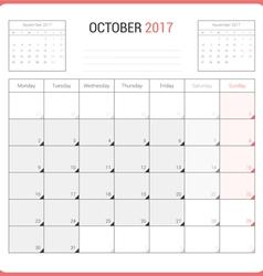 Calendar Planner for October 2017 vector image