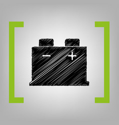 Car battery sign black scribble icon in vector