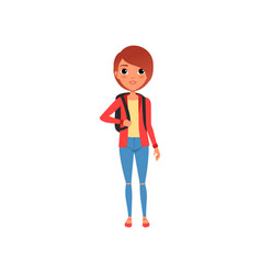 Cartoon female character in red jacket yellow t vector