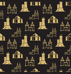 castles fortress bastions seamless pattern vector image
