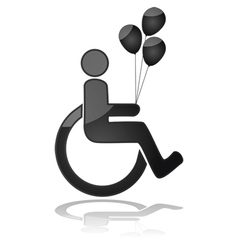 Child in wheelchair holding balloons vector
