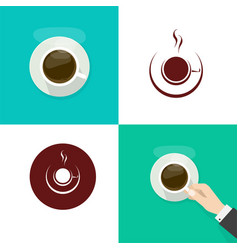 Coffee cup or mug isolated and in person vector