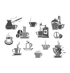 Coffee drinks and coffeemakers icons vector