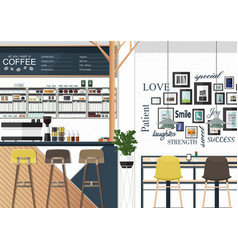 Coffee shop interiors design vector