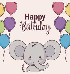 Cute elephant happy birthday card with balloons vector