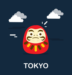daruma doll for good fortune in tokyo design vector image