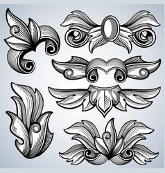 Decorative ornate engraving scroll ornament vector