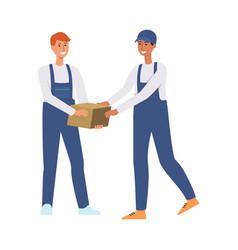 delivery men or couriers passing a box vector image