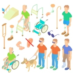 Disabled people care icons set isometric 3d style vector image
