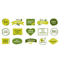 Eco logo organic healthy food labels and vegan vector