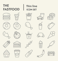 fastfood thin line icon set food symbols vector image