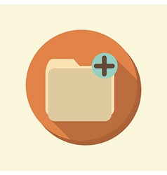 Flat circle web icon folder for documents vector