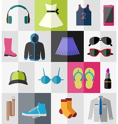 Flat icons of teenage clothes vector image
