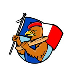 French eagle holding flag and baguette cartoon vector
