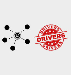 gear links icon and grunge drivers vector image