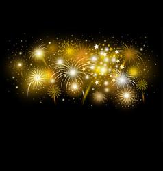 Gold firework design on black background vector