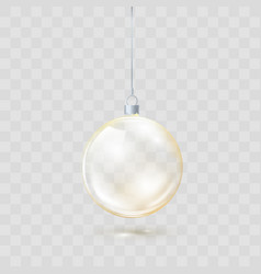 golden glass transparent christmas ball yellow vector image