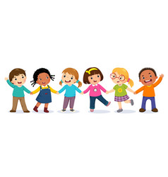 Group happy kids holding hands vector