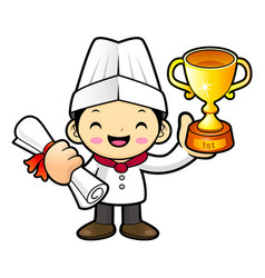 Happy chef character first prize in the vector