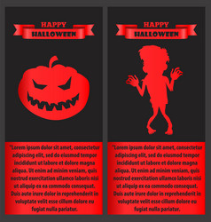 happy halloween poster with zombie and pumpkin set vector image