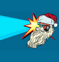 Headlights car santa claus christmas character vector