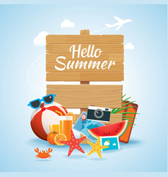 hello summer time travel season banner design vector image