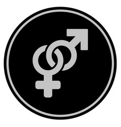 Heterosexual symbol black coin vector