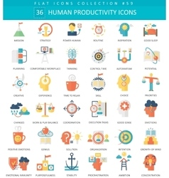 Human productivity color flat icon set vector