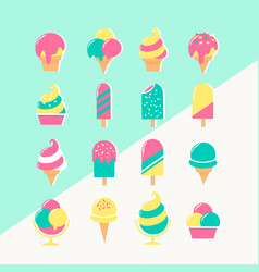 ice cream set of icons in pastel colors vector image