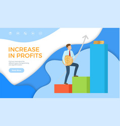 increase in profit web page sample businessman top vector image