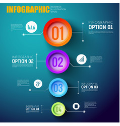 Infographic template with four multicolored circle vector