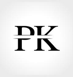 initial monogram letter pk logo design template vector image
