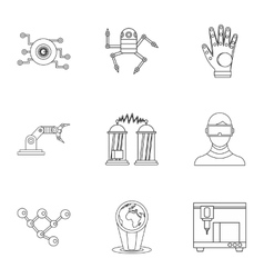 Innovative device icons set outline style vector image