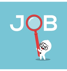 Job search concept with magnifying glass vector