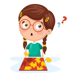 Kid playing puzzle vector