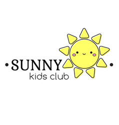 kids logo template with happy sun sign label for vector image