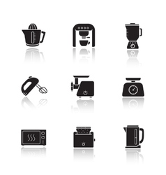 Kitchen electronics drop shadow icons set vector image