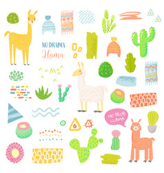 Llamas childish elements set cactuses and alpacas vector