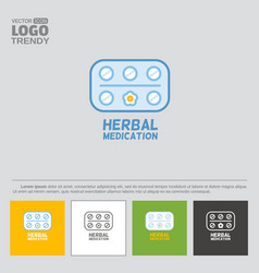 Logo or icon blister packaged pills with flower vector